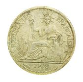 1908 vintage France coin with the French republic — Stock Photo
