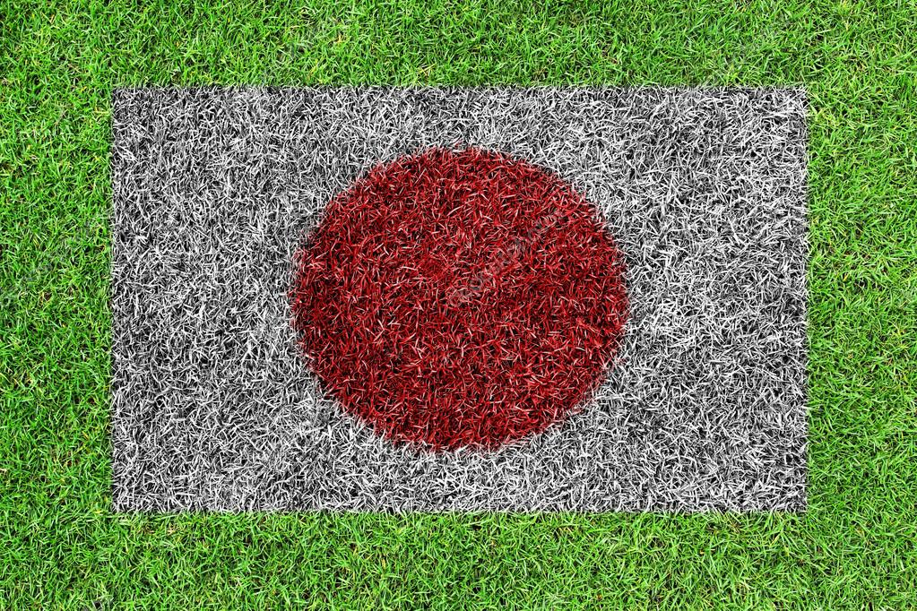 Japanese flag as a painting on green grass background  Stock Photo #13367301