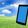 Tablet pc on green grass — Stock Photo