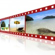 Red 3D film strip with nice pictures of andaman scene — Stock Photo