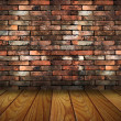 Stock Photo: Vintage brick wall and wood floor texture interior