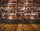 Vintage brick wall and wood floor texture interior — Stock Photo