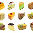 Collection of slices cake - Stock Photo