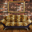 Vintage luxury armchair and frame in room — Stock Photo