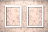 Empty frames on the wall. Vintage background — Stock Photo