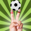 Royalty-Free Stock Photo: Hand victory with soccer ball concept Denmark VS Germany