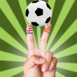 Hand victory with soccer ball concept Croacia VS Spain — Stock Photo