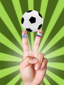 Hand victory with soccer ball concept Greece VS Russia — Stock Photo