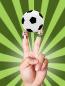 Hand victory with soccer ball concept Italy VS Ireland — Stock Photo
