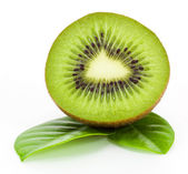 Fresh kiwi fruit and leaves isolated on white — Stock Photo