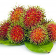 Tropical fruit, rambutan on white background — Stock Photo