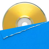 Blank compact disc with blue cover — Stock Photo