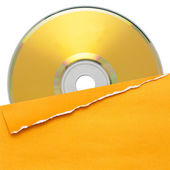 Blank compact disc with yellow cover — Stock Photo