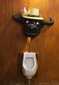 Urinal with buffalo head — Stock Photo