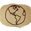 Drawing of the earth, world out line illustration on recycle pap — Stock Photo