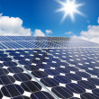 Solar cell array against sun — Stock Photo #13641378