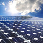 Solar panel on a sunny day blue sky — Stock Photo #13641431