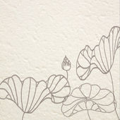 Hand drawn water lilies on Mulberry paper — Stock Photo