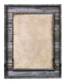 Vintage wood frame with paper fill isolated on white — Zdjęcie stockowe