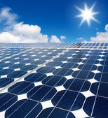 Solar cell array against the sun — Stock Photo