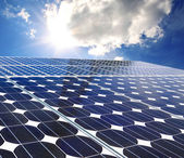 Solar panel on a sunny day blue sky — Stock fotografie
