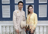 Portrait of couple asian smiling with traditional clothing Peran — Stock Photo