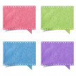 Blank film strip speech bubbles recycled paper craft stick on wh — Stock Photo #14338303