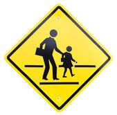 Schild vorsicht zeichen - schule überqueren — Stockfoto