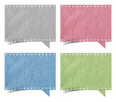 Blank film strip speech bubbles recycled paper craft stick on wh — Stock Photo