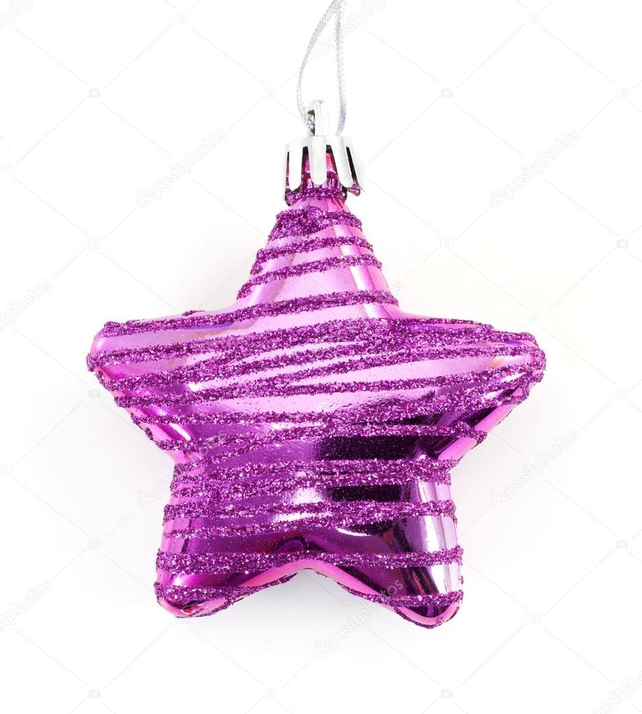 Pink christmas star on white background — Stock Photo #15818115
