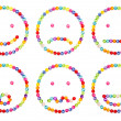 A set of very original emoticon decorate by colorful beads on w — Stock Photo