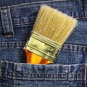 Cepillo en el jean — Foto de Stock