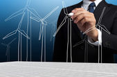 Business Man Draw Turbine Power Generator — Stock Photo