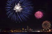 Beautiful fireworks celebrating new year on patong beach thailan — Stock Photo
