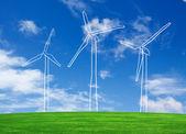 Hand drawing wind turbine farm on grass field — Stock Photo