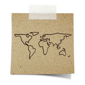 Hand draw world map on note taped recycle paper — Stock Photo