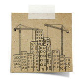 Hand draw of city development with crane, and building backgrou — Stock Photo