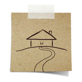 Hand draw house on note taped recycle paper — Stock Photo