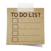 リストを行うにテープでノート リサイクル紙の上の手を描画します。 — ストック写真