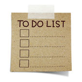 Hand draw to do list on note taped recycle paper — Stockfoto