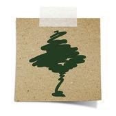 El çizmek bir ağaç bantlanmış Not yeniden işleyip kullanı kağıt — Stok fotoğraf