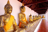 Row of Sacred Buddha images in Surat thani, Thailand — Stock Photo