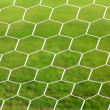 Close up on white football net, green grass — Foto Stock