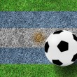 Soccer ball on Flag of Argentina as a painting on green grass ba — Stock Photo