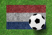 Soccer ball on netherlands flag as a painting on green grass — Stock Photo