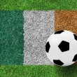 Stock Photo: Soccer ball on Flag Republic of Ireland as painting on green g