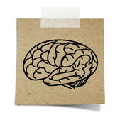 Drawing brain note taped recycle paper on white background — Stock Photo
