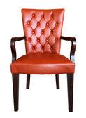 传统真皮扶手椅软垫上孤立的白 — 图库照片