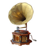 Retro old gramophone with horn isolated on white with Clipping P — Stock Photo