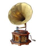 Grammofono vecchio retrò con corno isolato su bianco con ritaglio p — Foto Stock